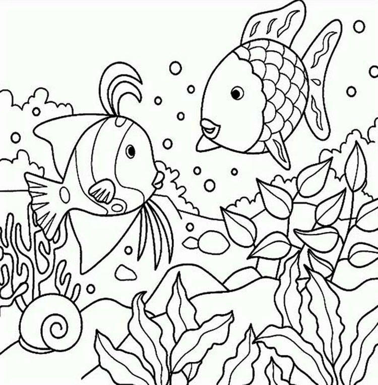 Rainbow Fish Coloring Pages Of Sea Animals