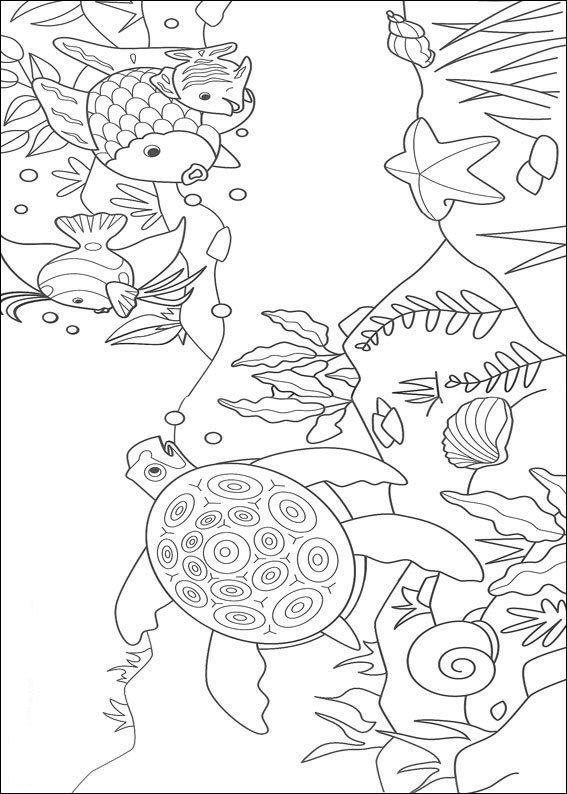 Rainbow Fish Coloring Pages Sea Turtle Starfish