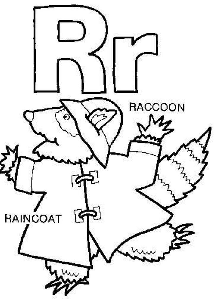 Raincoat Raccoon Free Alphabet Coloring Pages