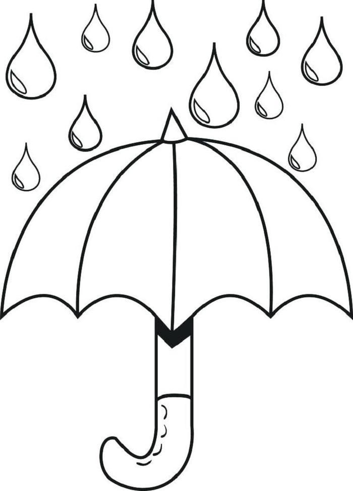 Raindrops And Umbrella Coloring Pages