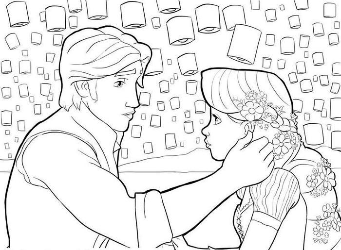 Rapunzel And Eugene Coloring Pages