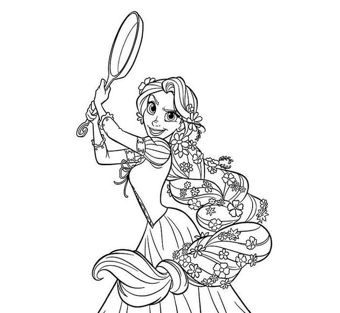 Rapunzel With Braided Hair Coloring Pages