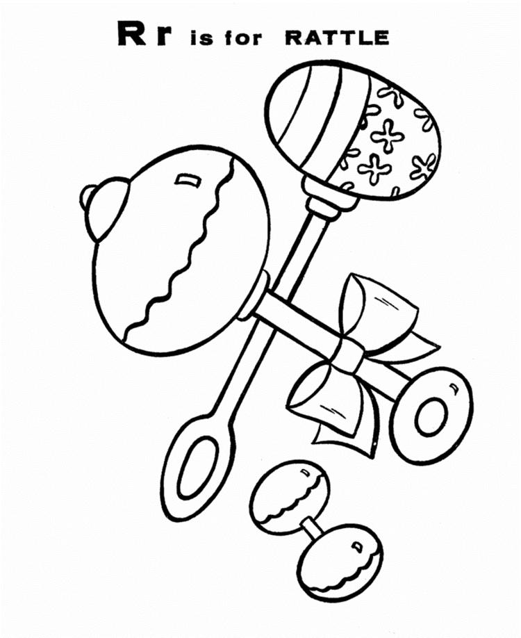 Rattle Free Alphabet Coloring Pages