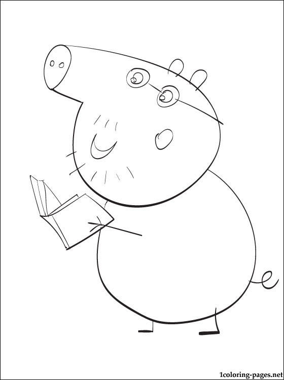 Reading Book Peppa Pig George Coloring Pages