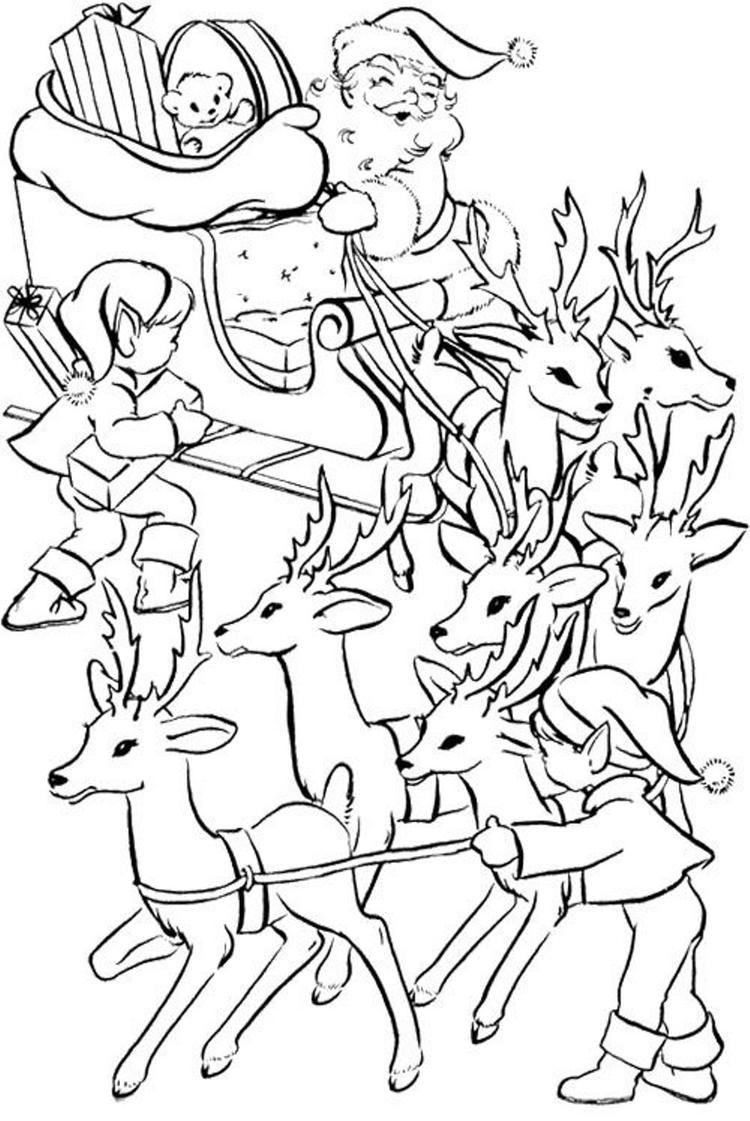 Ready Santa Coloring Pages For Kids Printable