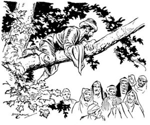 Real zacchaeus climbs tree to see jesus coloring sheet to print