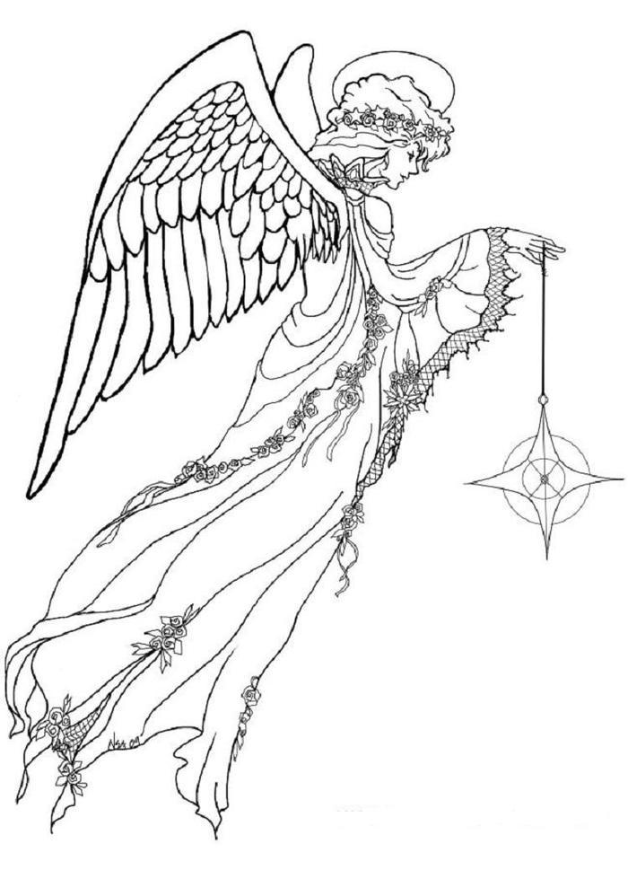 Realistic Angels Coloring Pages