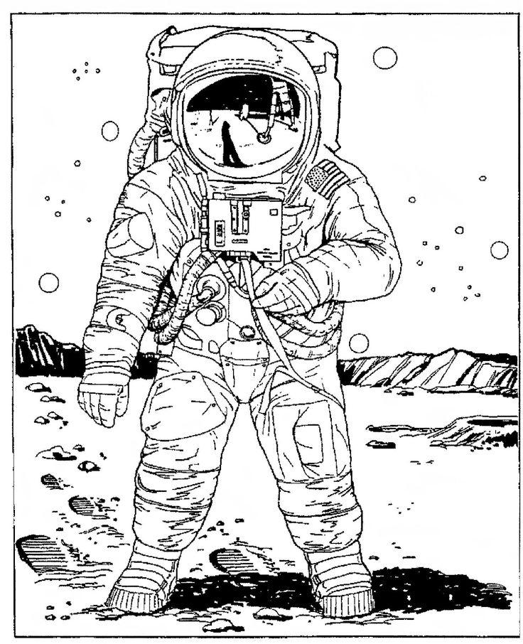 Realistic Astronaut Coloring Pages