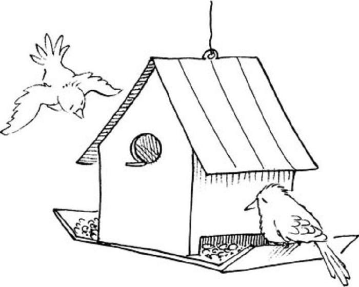 Realistic Birdhouse Coloring Pages