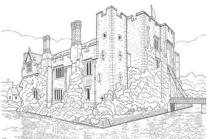 Realistic Castle Coloring Pages