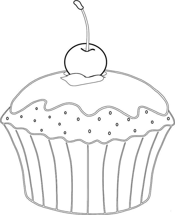 Realistic Cupcakes Coloring Pages