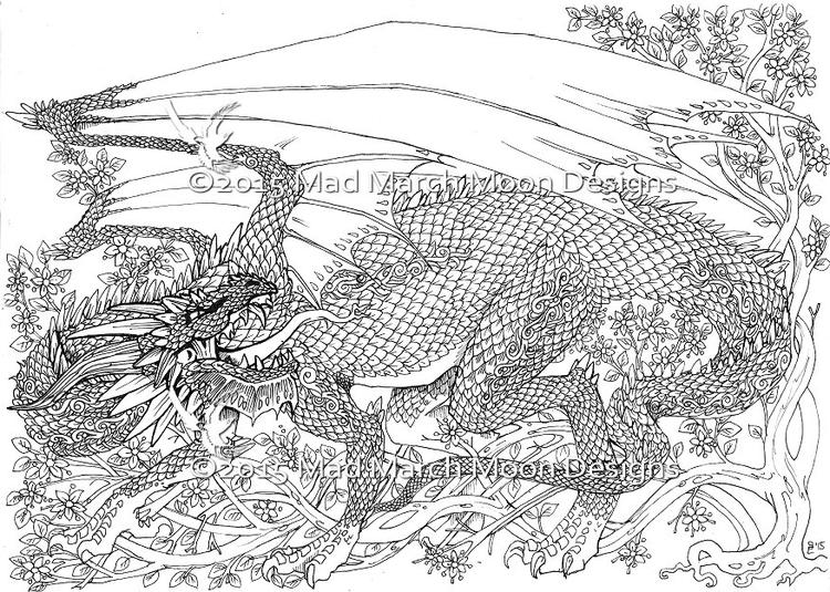 Realistic Dragon Adult Coloring Pages Printable