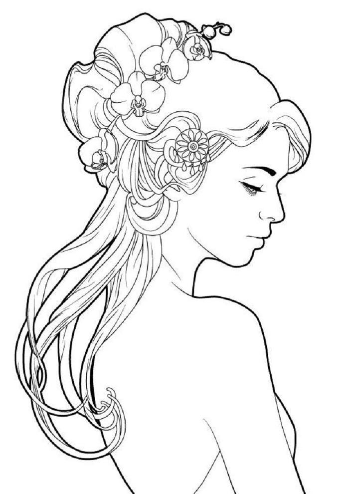 Realistic Hair Coloring Pages