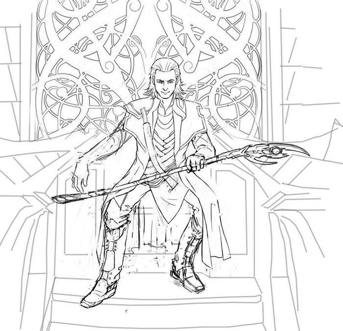 Realistic Loki Coloring Pages