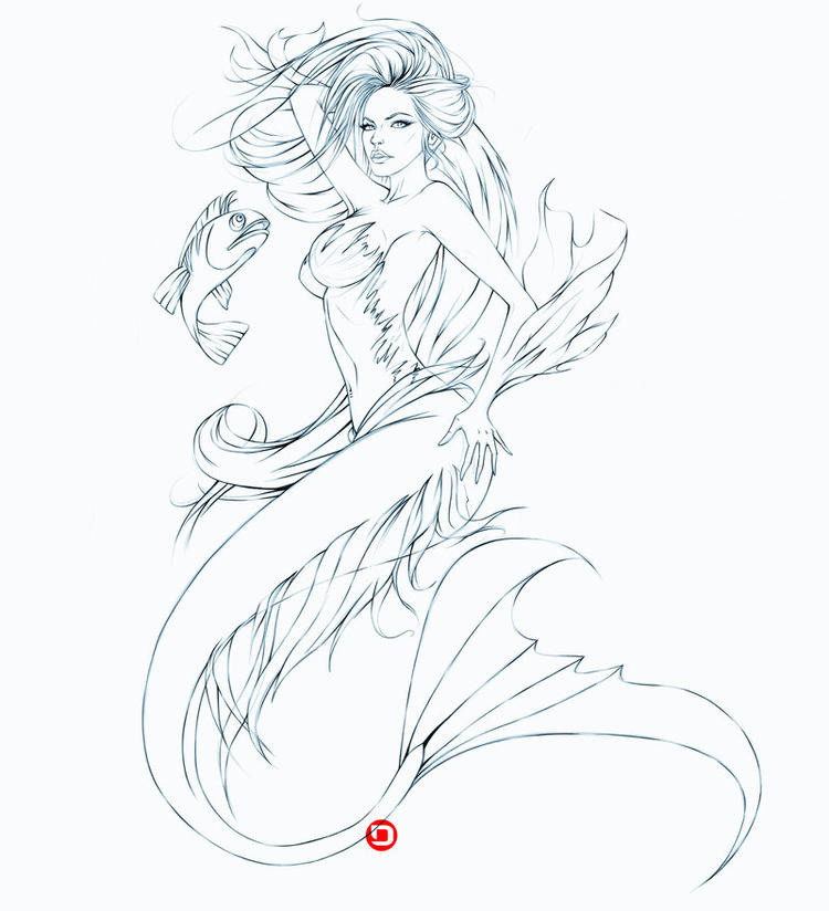 Realistic Mermaid Coloring Pages For Adults 1