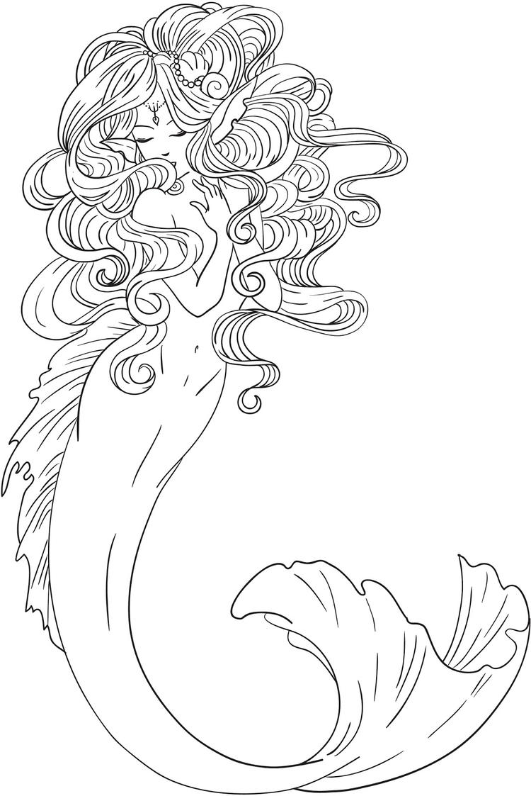 Realistic Mermaid Colouring Pages