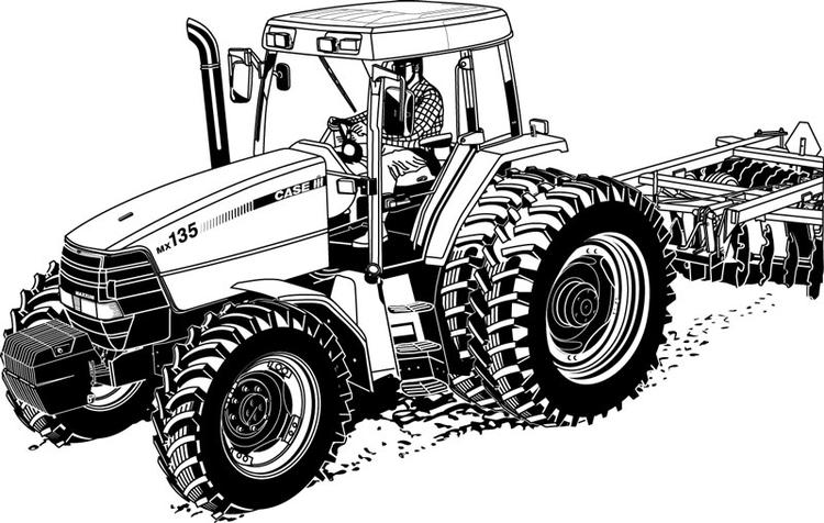Realistic Tractor Coloring Pages Printable