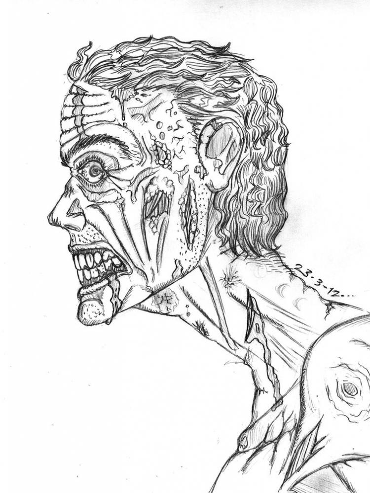 Realistic Zombie Coloring Pages
