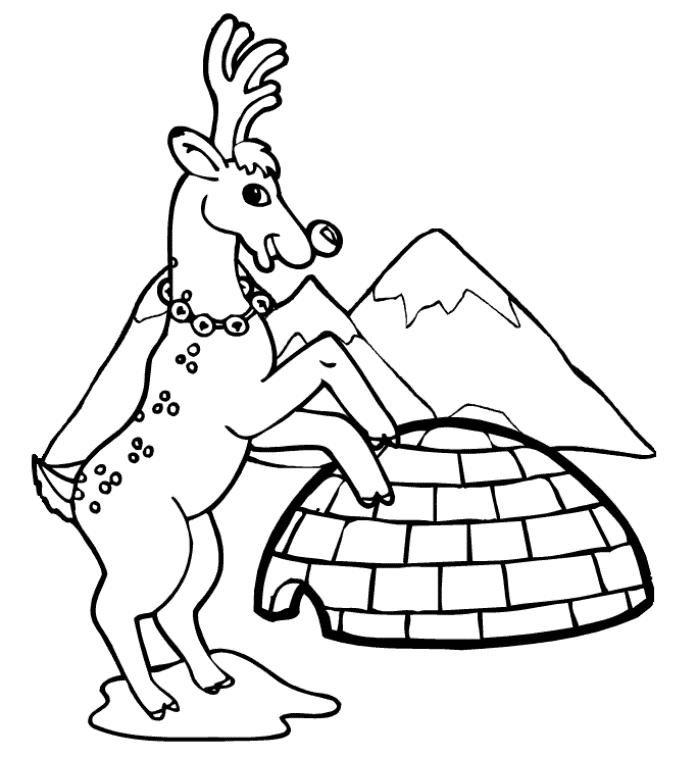 Reindeer And Igloo Winter Coloring Pages