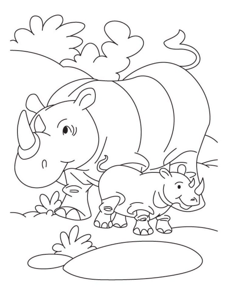 Rhino And Her Baby Free Animal Coloring Pages