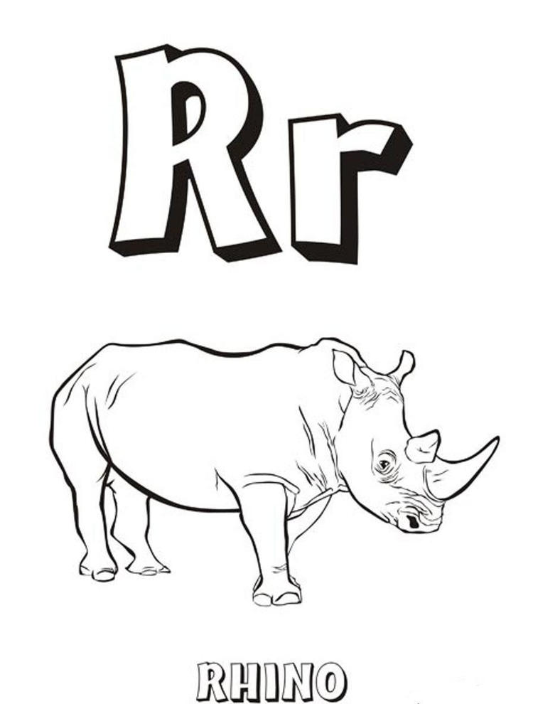 Rhino Free Alphabet Coloring Pages
