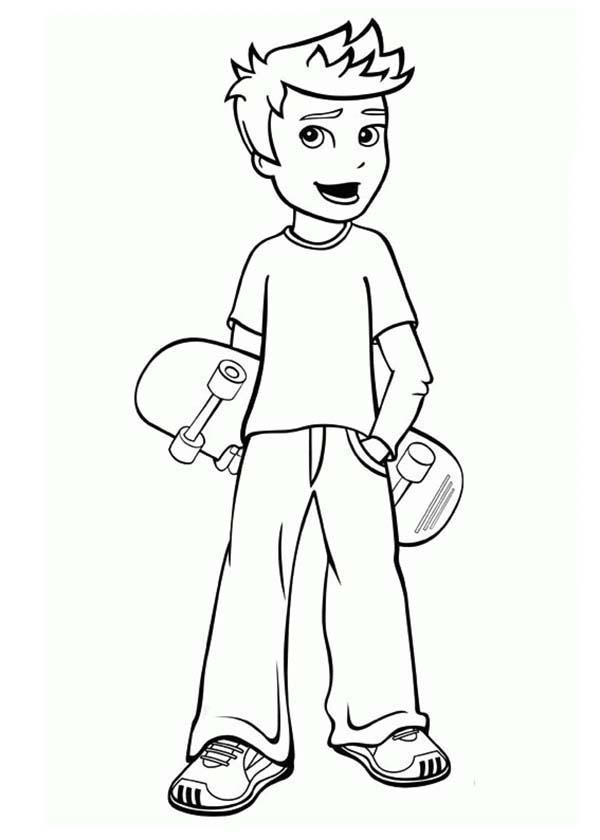 Rick Want To Play Skateboard In Polly Pocket Coloring Pages
