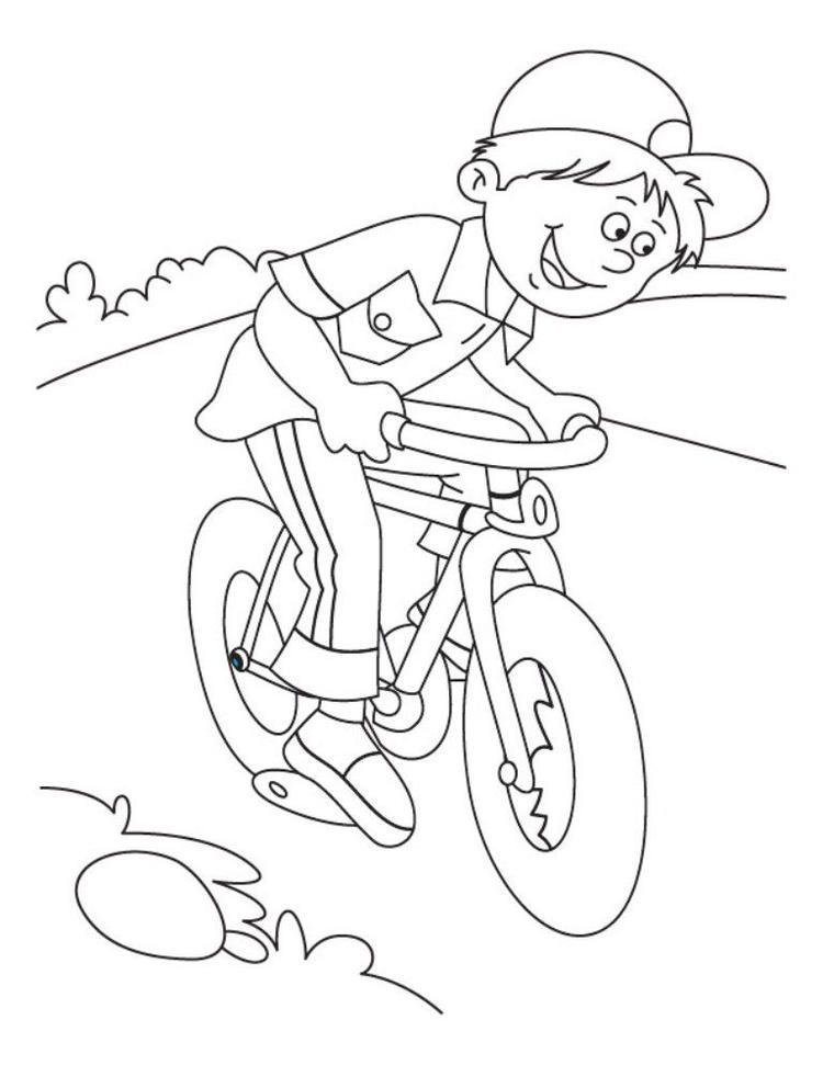 Riding Bicycle Coloring Page For Kids