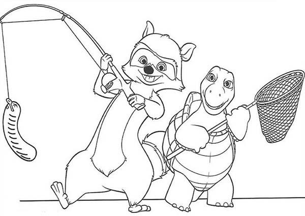 Rj And Verne Is Going To Fishing In Over The Hedge Coloring Pages