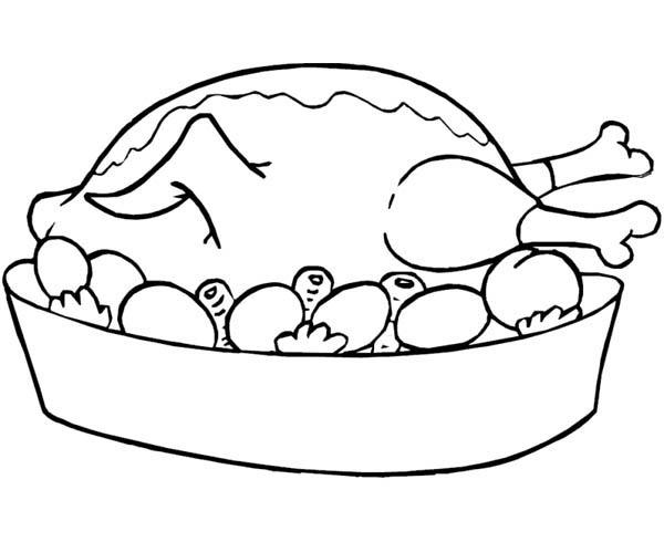 Roasted Chicken Food Coloring Pages