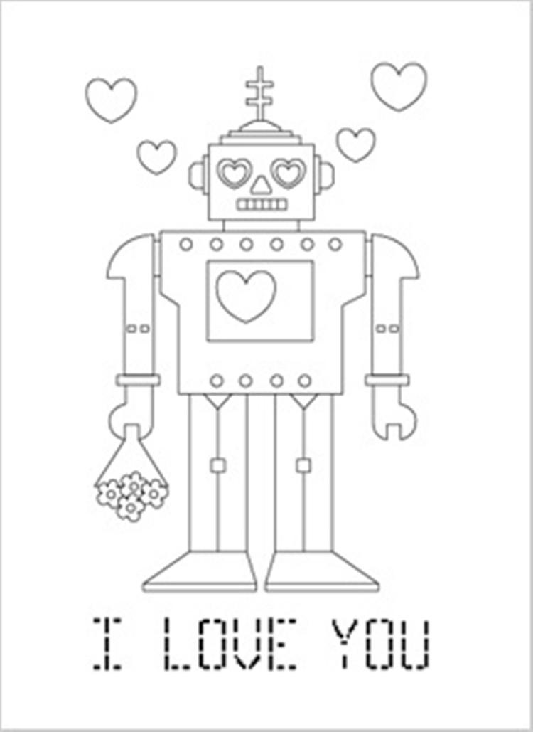 Robo I Love You Valentine Coloring Page