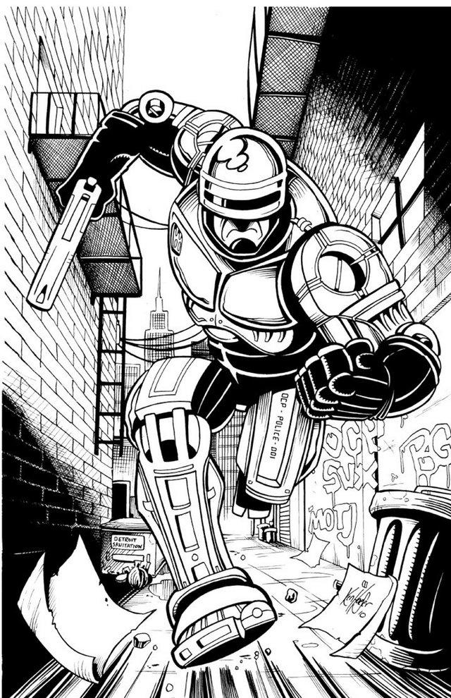 Robocop White And Black Drawing