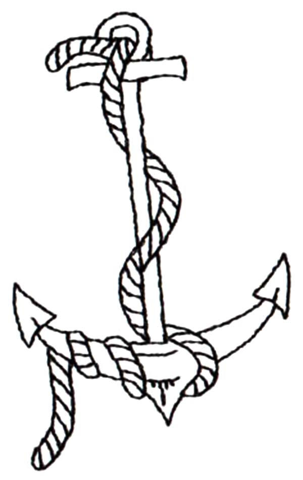 Rope On Anchor Coloring Pages