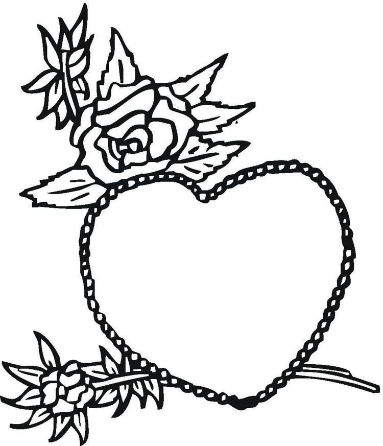 Rose And Heart Valentines Coloring Pages