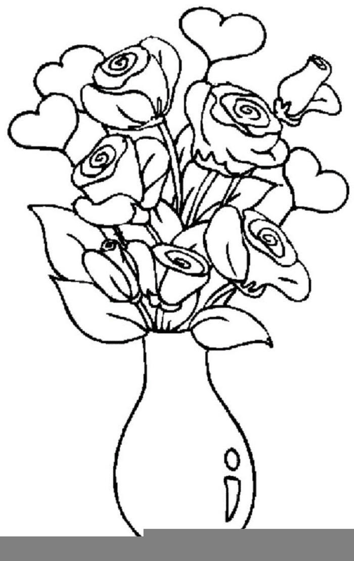 Rose And Vas Coloring Pages To Print