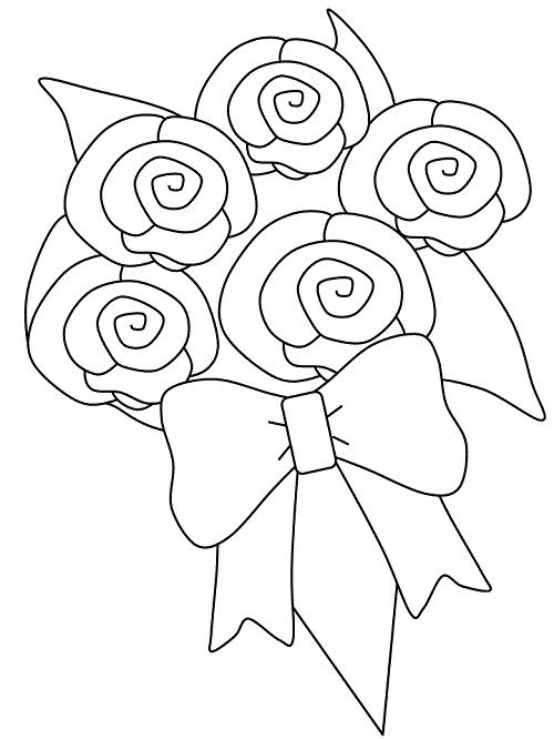 Rose Bouquet Coloring Pages For Kids