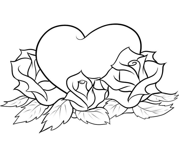 Rose Coloring Pages With Heart