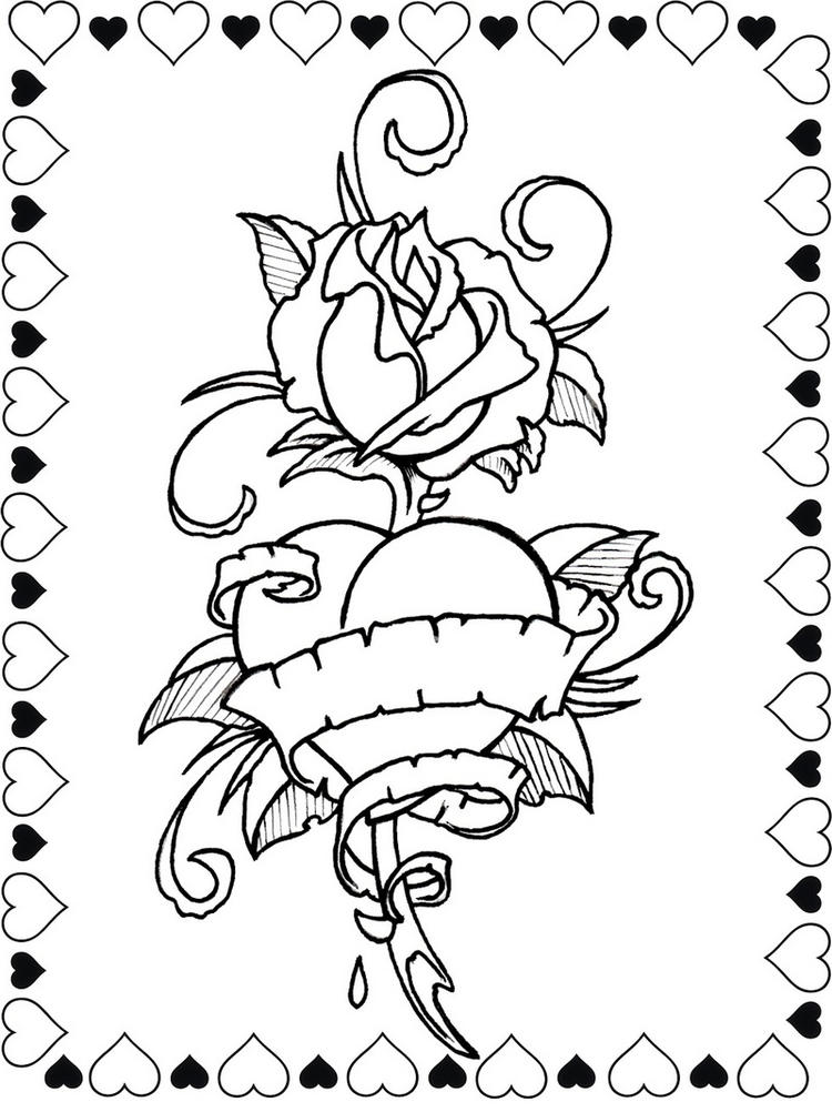 Roses And Hearts Formed Love Coloring Sheet