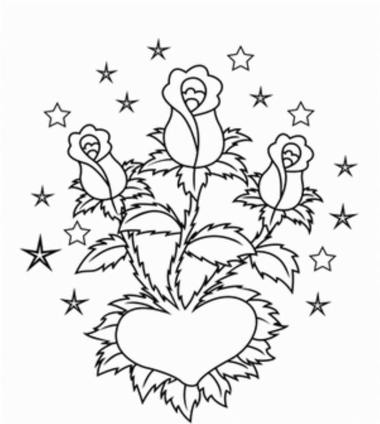 Roses In Heart Valentines Coloring Pages