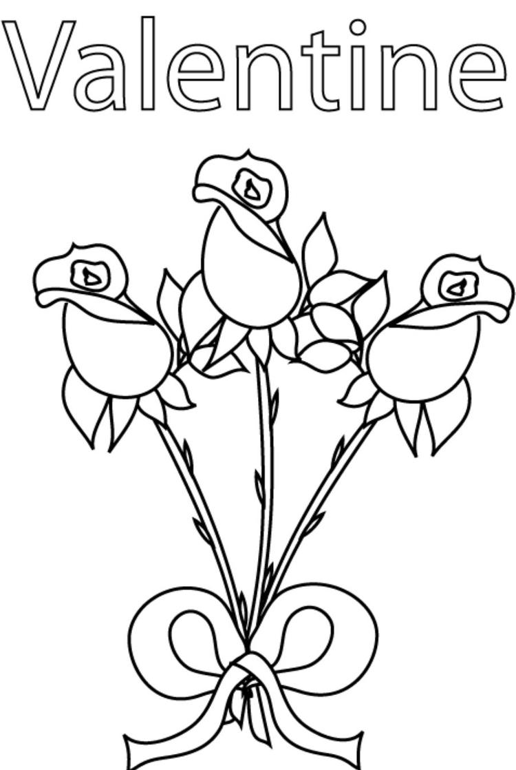 Roses Valentine Coloring Pages