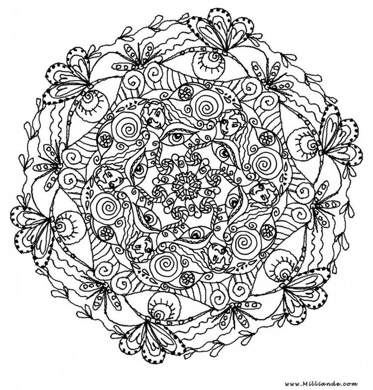 Rounded Adult Flower Coloring Pages Printable