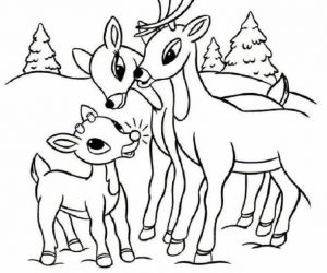 Rudolph reindeer and family coloring page