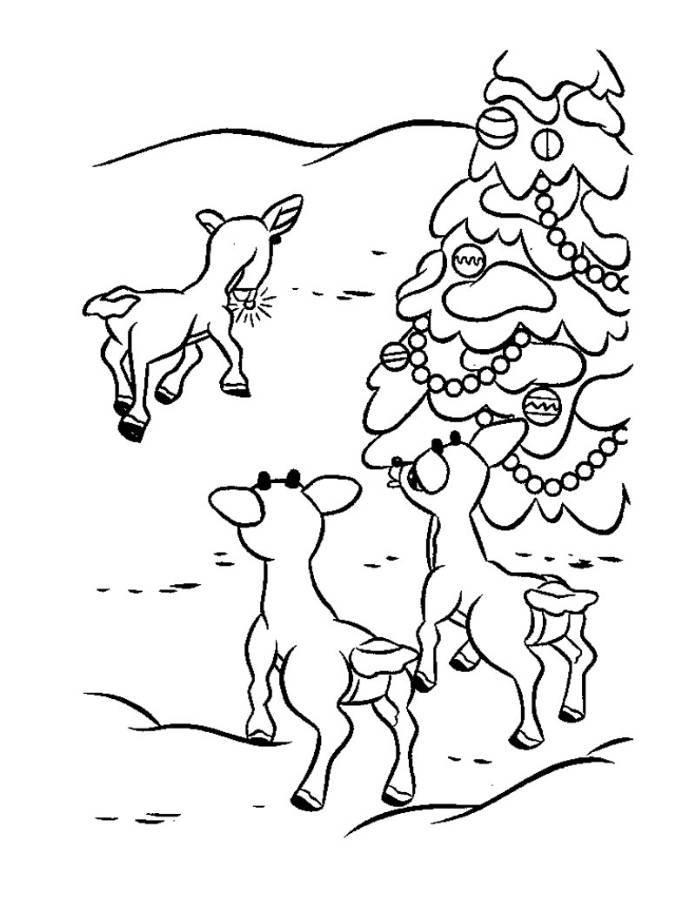 Rudolph Reindeerfriends And Christmas Tree Coloring Page