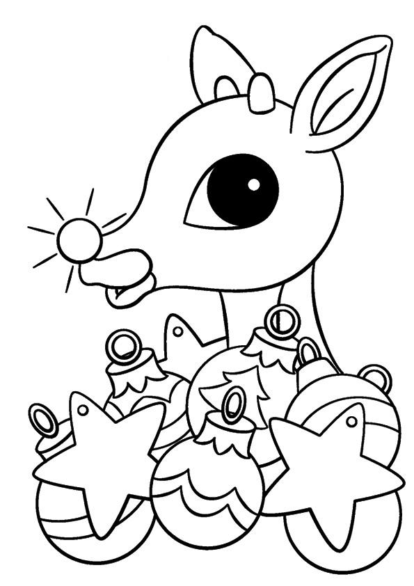 Rudolph The Red Nosed Reindeer Coloring Pages Christmas Ornaments