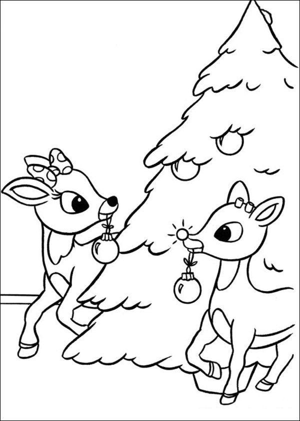 Rudolph The Red Nosed Reindeer Coloring Pages Christmas Tree