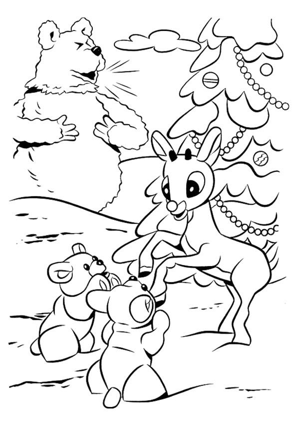 Rudolph The Red Nosed Reindeer Coloring Pages Playing In Snow