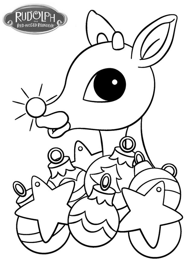 Rudolph With Christmas Ornament Coloring Page