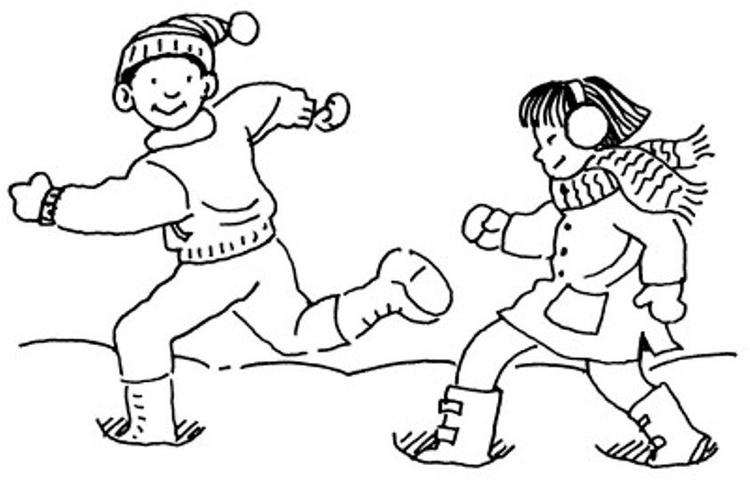 Running In The Snow Winter Coloring Pages