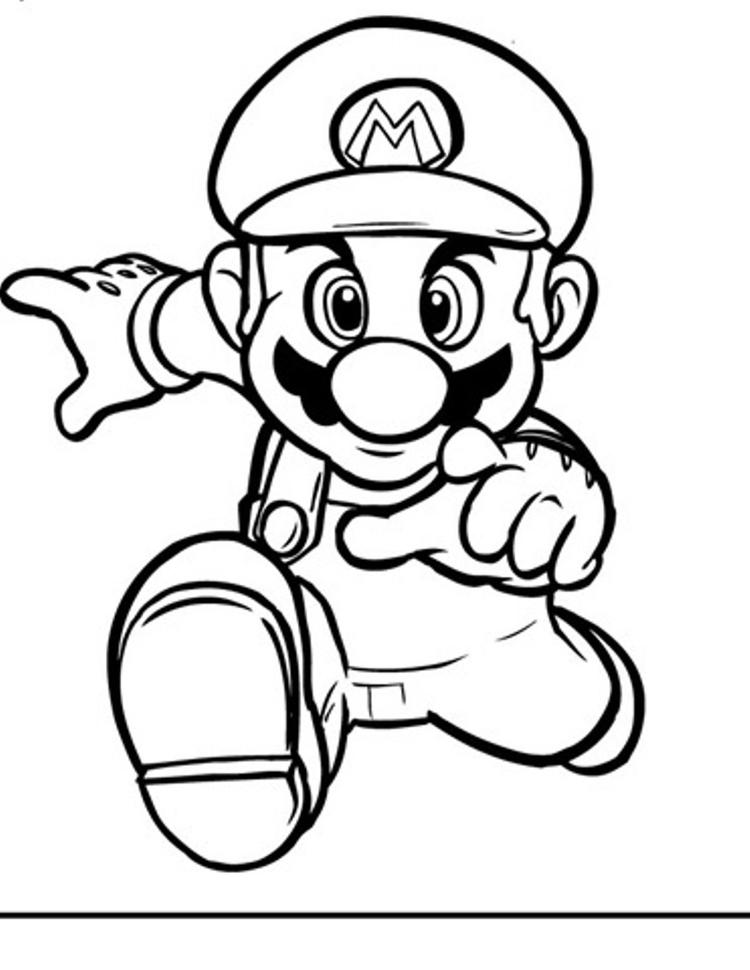 Running Mario Bros Coloring Pages