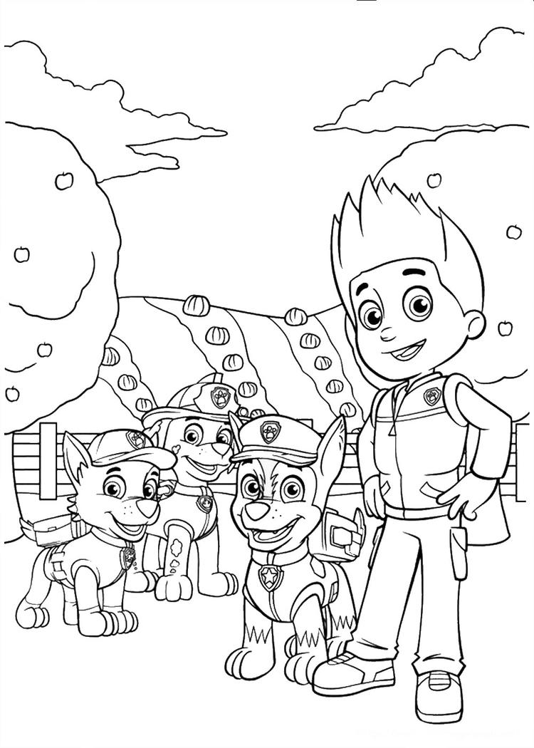 Ryder And Paw Patrol Coloring Pages
