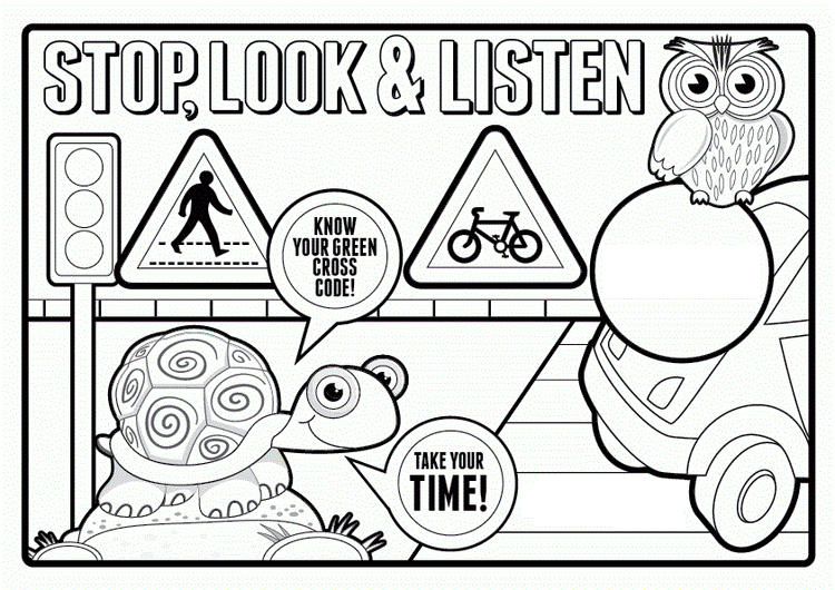 Safety Sign Coloring Pages Printable